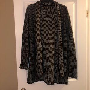 Tan & black chevron stripe cardigan